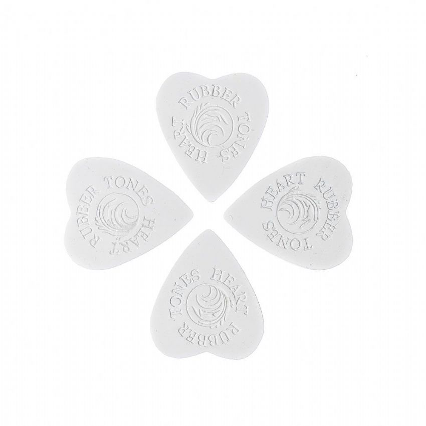 Rubber Tones Heart - White Silicon - 4 Picks | Timber Tones